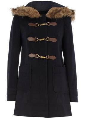 Dorothy Perkins Navy Fur Hood Buckle Duffel Coat