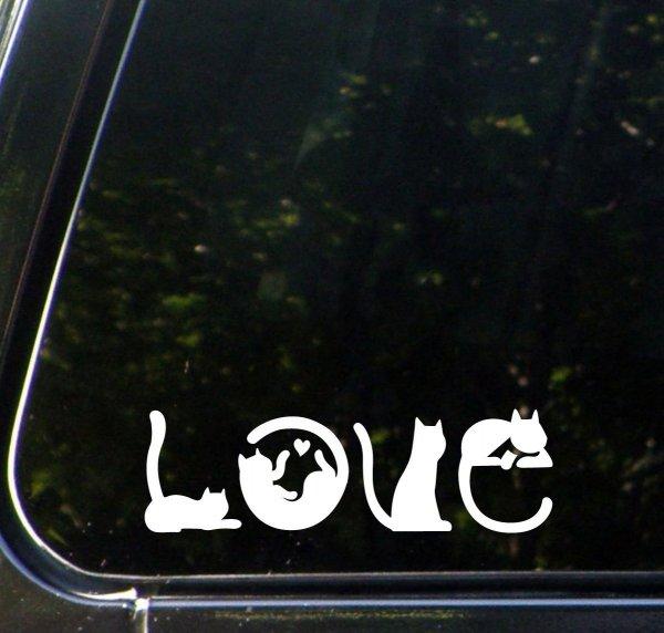 Cats Spell LOVE - Car Vinyl Decal Sticker