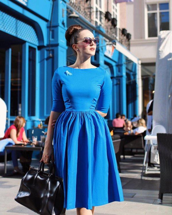 blue, clothing, electric blue, woman, dress,