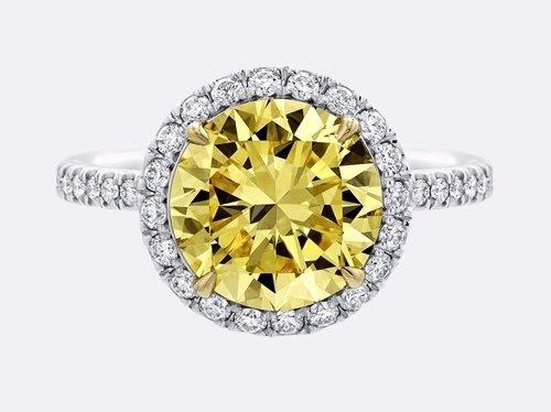 Harry Winston round Brilliant Yellow Diamond Micropavé Ring