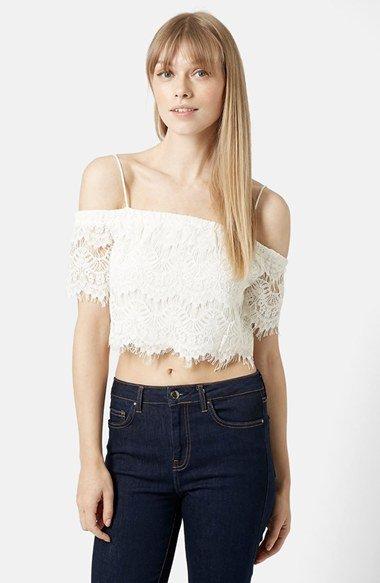 Off the Shoulder Lace Crop Top