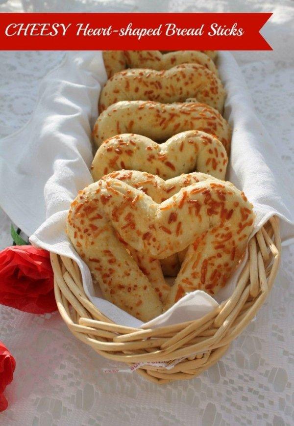 Cheesy, Heart-shaped Bread Sticks