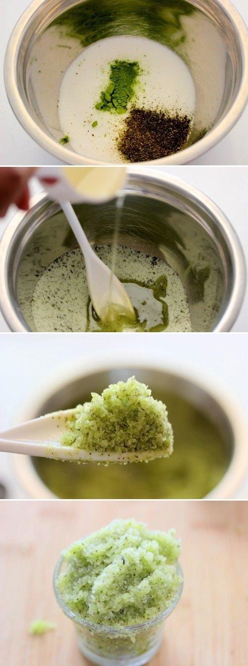 Exfoliate Your Skin with a Three-ingredient Green Tea Sugar Scrub