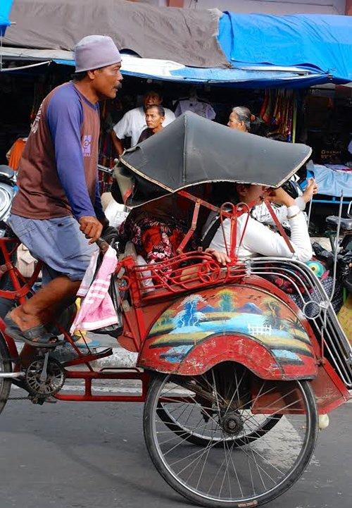 Ride in a Pedicab or Horse Drawn Carriage in Yogyakarta, Indonesia