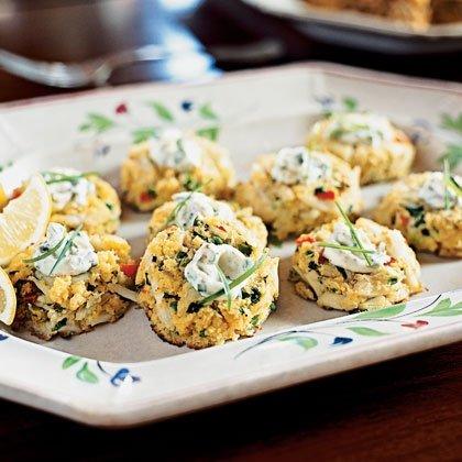 Mini Corn Bread Crab Cakes with Lemon-Caper Sauce