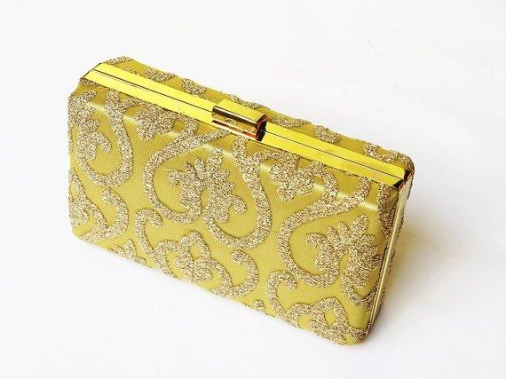 Damask Motif GOLD CLUTCH BOX
