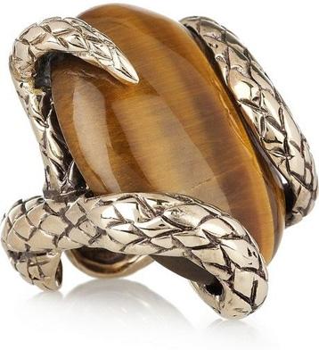 Roberto Cavalli Gold-Plated Tiger's Eye Snake Ring