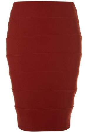 Topshop Burnt Orange Panel Bodycon Pencil Skirt