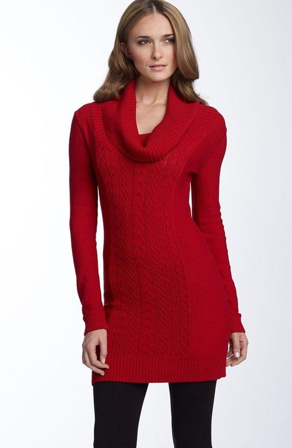 Black Leggings + Red Sweater Dress