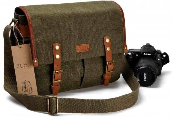 Unisex Vintage Retro Genuine Leather and Canvas Camera Messenger Shoulder Bag