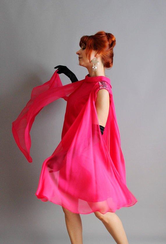 1960s Deep Bright Raspberry Pink Chiffon Party Dress