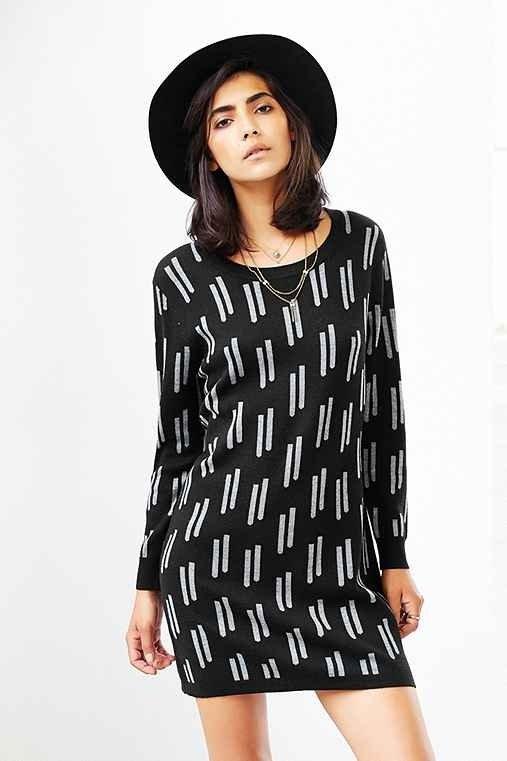 Mary Meyer MM Long-Sleeve Sweater Dress- Black Multi