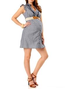 Sleeveless Belted Maternity Dress