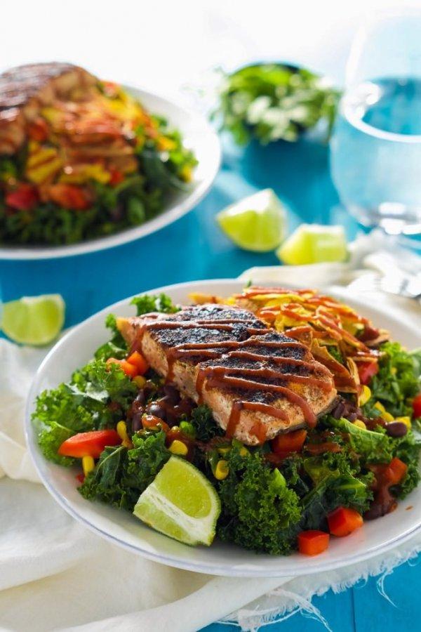 BBQ Salmon Kale Salad