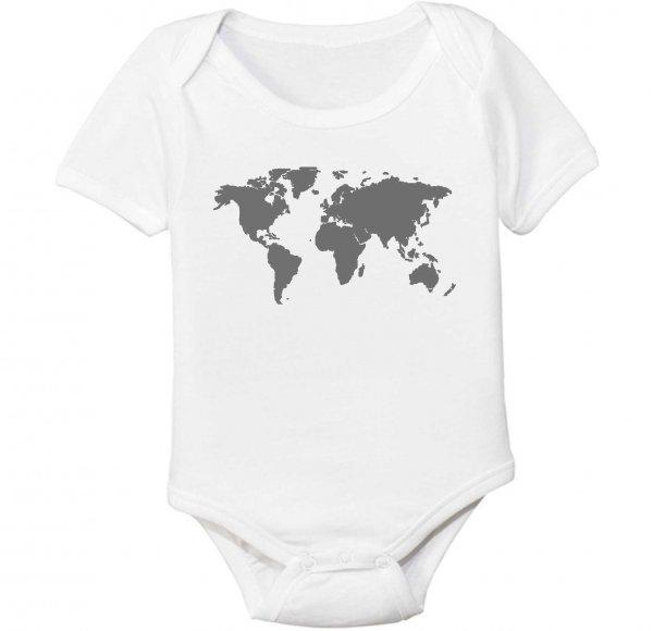 World Map Organic Cotton Baby Bodysuit