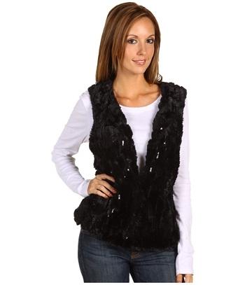 AK Anne Klein Sequined Faux Fur Vest