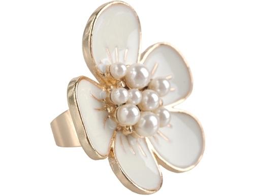 Pearl Center Flower Ring by Forever21