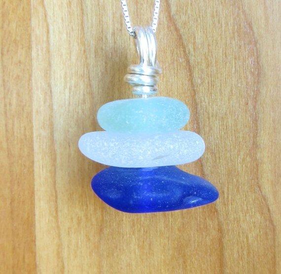 Sea Glass Trio Necklace Sterling Silver