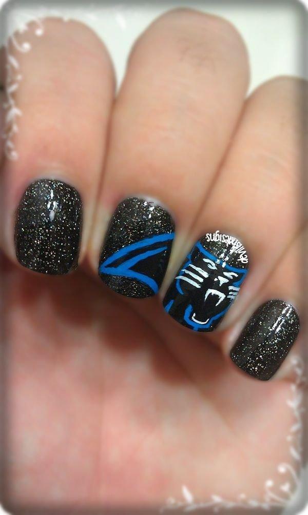 Carolina Panthers - Carolina Panthers - 36 Sports Nail Art Ideas That Will Make You…