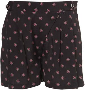 Topshop Black Daisy Spot Print Shorts