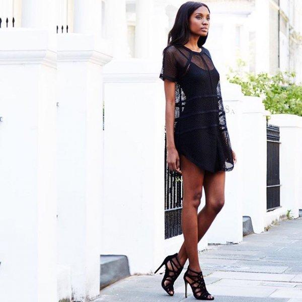 clothing, footwear, little black dress, dress, leg,