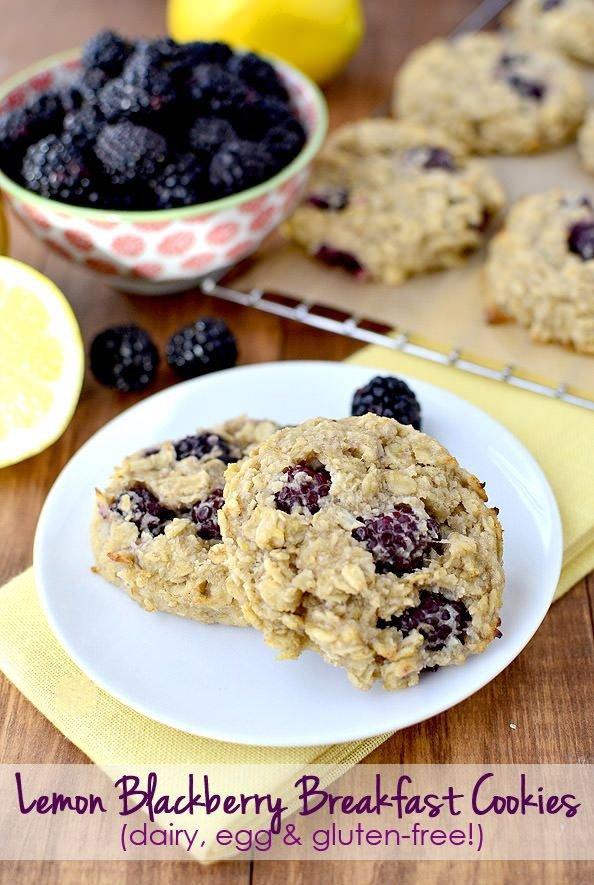 Lemon Blackberry Breakfast Cookies