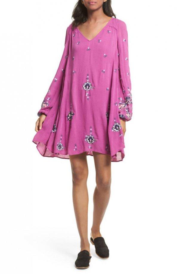 clothing, pink, dress, day dress, shoulder,