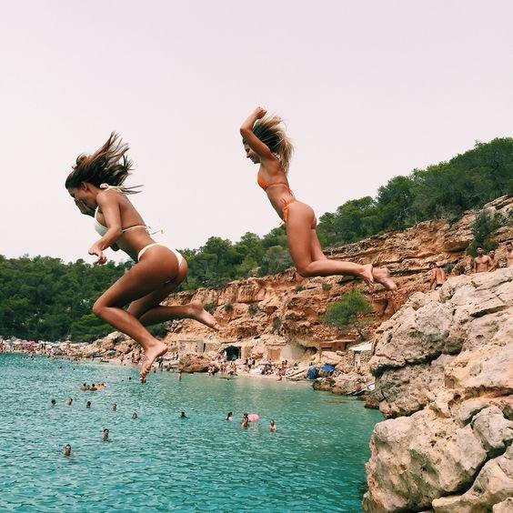 sea, vacation, cliff, sports, jumping,