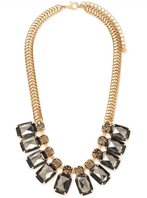 Gold/Grey Faux Gemstone Statement Necklace