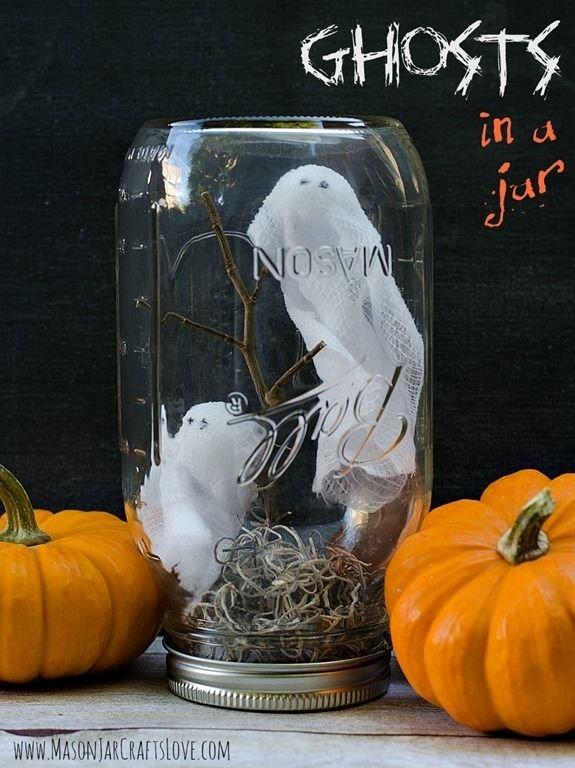 Ghosts in Mason Jar Craft