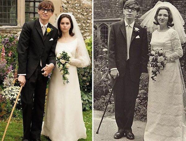 Eddie Redmayne and Felicity Jones as Stephen and Jane Hawking