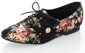 Miss Selfridge Black Floral Canvas Lace up