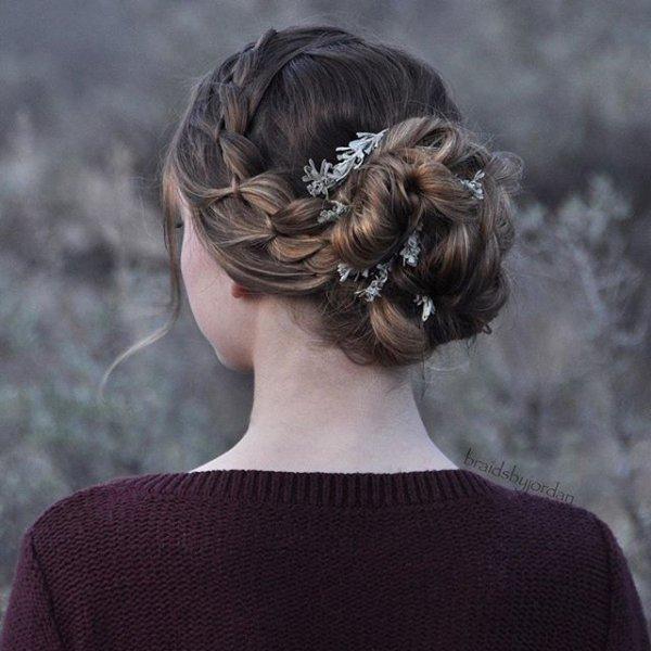 hair, hairstyle, chignon, long hair, headgear,