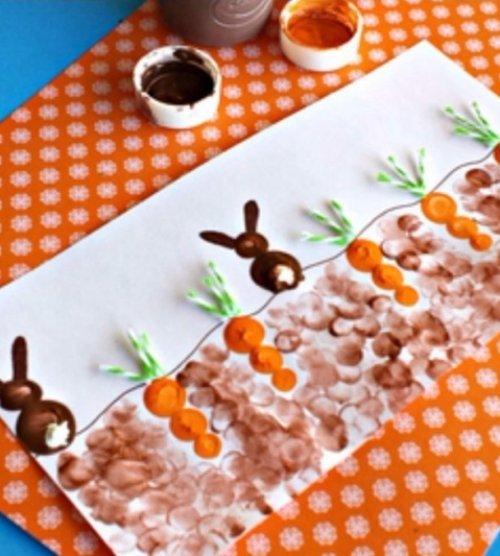 Fingerprint Carrot and Bunny Craft