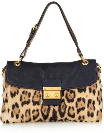 Miu Miu Leopard Print Calf Hair Shoulder Bag