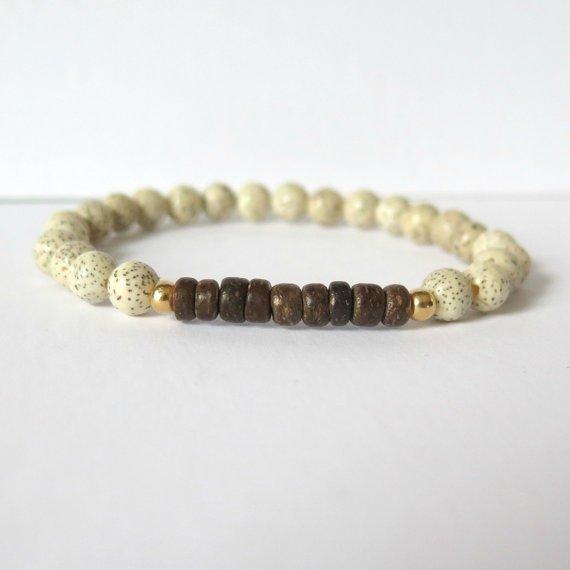 White Lotus Seed Yoga Inspired Bracelet