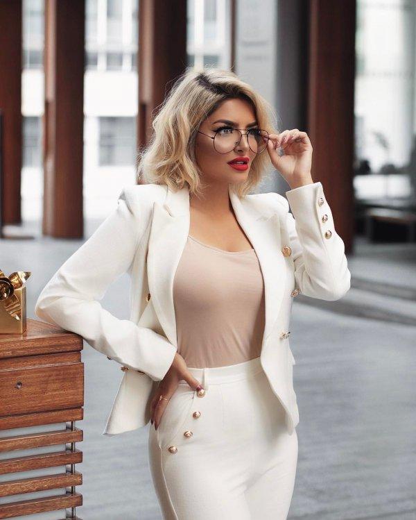 white, fashion model, eyewear, blazer, outerwear,