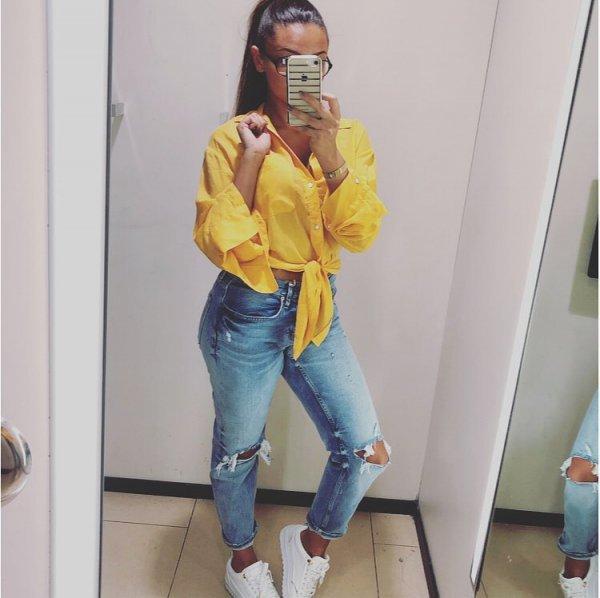 yellow, jeans, shoulder, outerwear, textile,