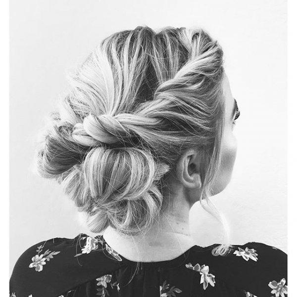 hair, hairstyle, black and white, long hair, chignon,