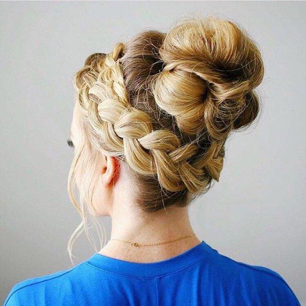 hair, hairstyle, long hair, blond, bun,