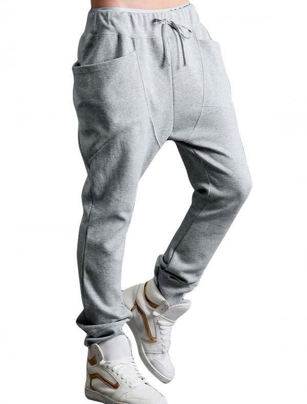 Allegra K Men's Casual Side Pockets Straight Pants, Light Gray