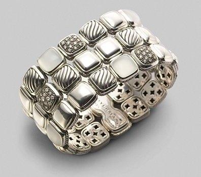 David Yurman Diamond, Moon Quartz & Sterling Silver Chiclet Collection 3-Row Bracelet