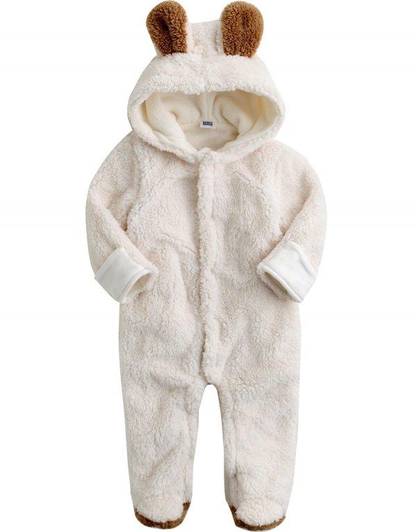 6-24M Infant Boys Fleece Hoodie Snowsuit Romper