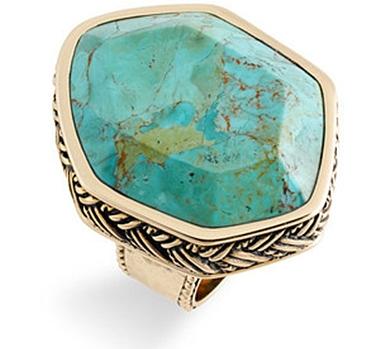 "Barse ""Montage"" Hexagonal Semi Precious Stone Ring"