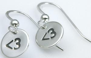 <3 Heart Dangle Earrings