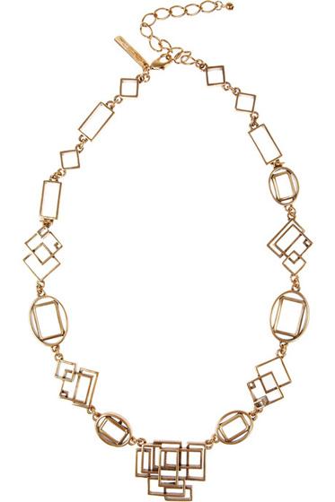 Oscar De La Renta Geometric Link Necklace