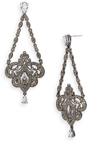 Nadri Triangle Chain Chandelier Earrings