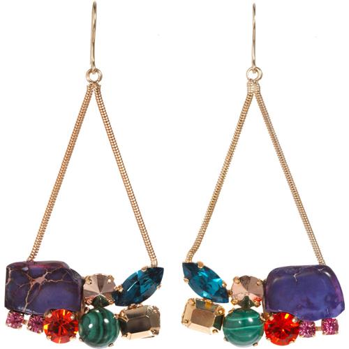 Iosselliani Multicolor Rock & Crystal Chandelier Earrings