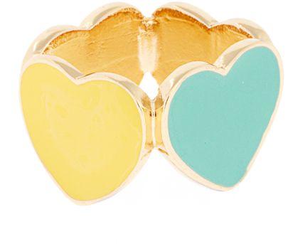 ASOS Adjustable Four Enamel Hearts Ring