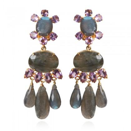 Bounkit Labradorite and Amethyst Statement Earrings